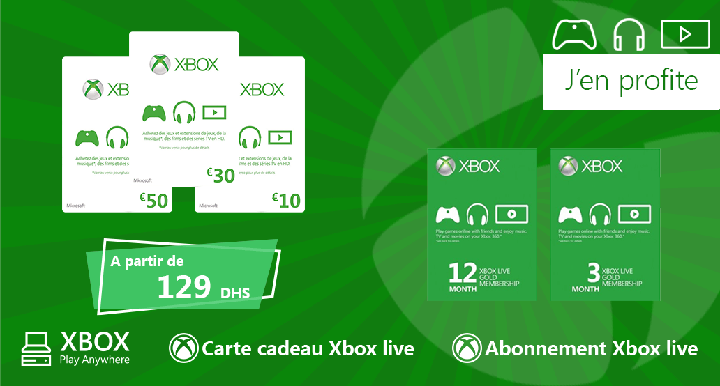 Cartes cadeaux et abonnements Xbox Live et gold - Carte Cadeaux Maroc